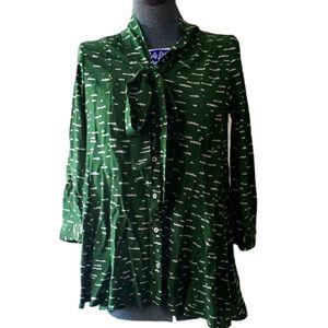 Anthropologie Maeve Green Neck Tie Blouse